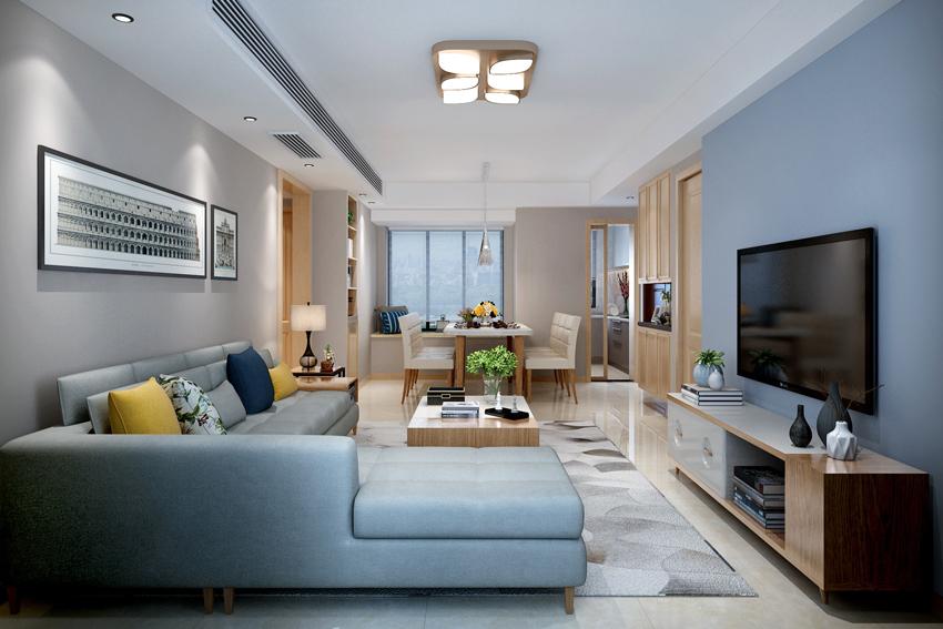 现代简约风格的客厅背景墙装修搭配什么颜色的壁纸会好看?