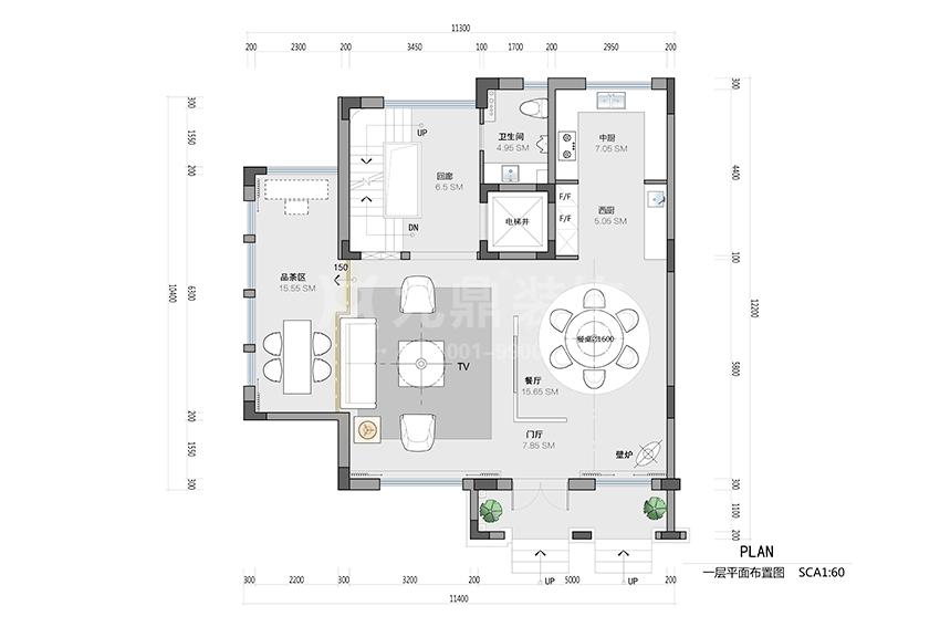 别墅一层平面布置图